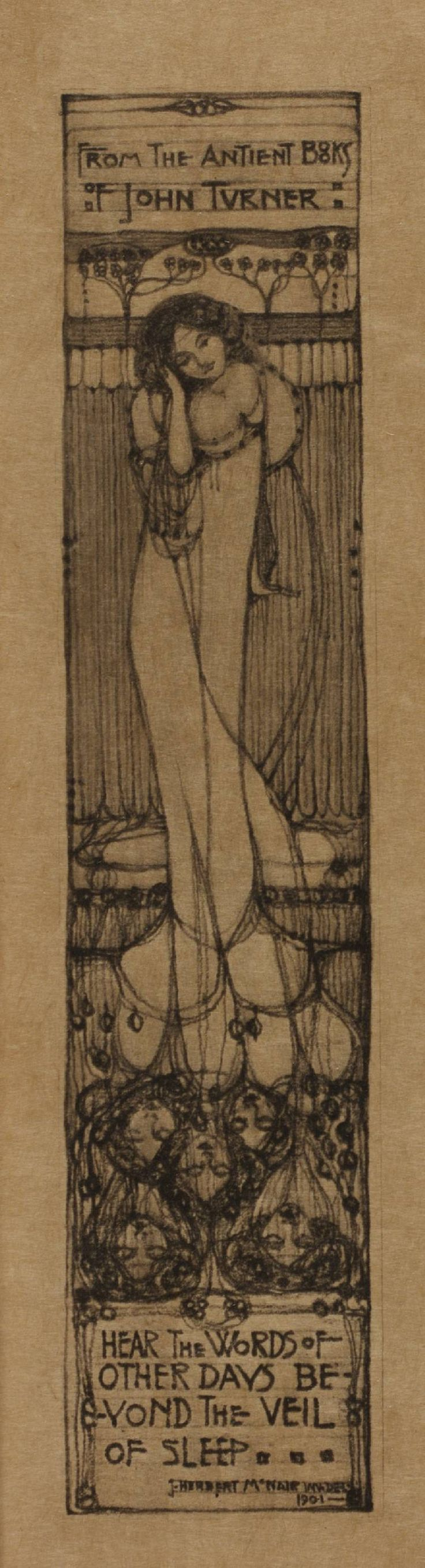 """McNair bookplate - from the Ancient Books of John Turner - """"hear the words of other days beyond the veil of sleep"""""""