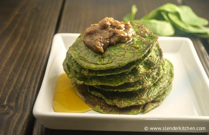 Spinach Protein Pancakes | Slender Kitchen Servings: 1 Serving Size: 8-10 small pancakes Nutritional Info: 151 calories, 2.5g of fat, 17.2g carbohydrates, 3.8g dietary fiber, 16g of protein, 1.2g of sugar