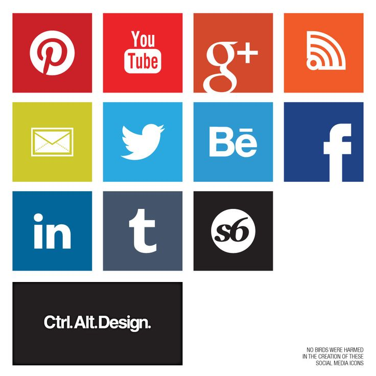 Modern Metro Style Social Media Icons    Style: Solid  Pinterest, Facebook, Twitter, Tumblr, Society6, Behance, YouTube, Email, RSS  Sizes: 1024×1024, 512×512, 256×256, 128×128, 64×64