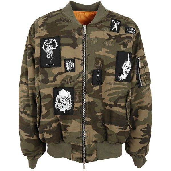 Unravel Project Patch Detail Bomber ($959) ❤ liked on Polyvore featuring men's fashion, men's clothing, men's outerwear and men's coats