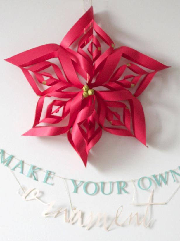 Diy red christmas paper snowflake decor