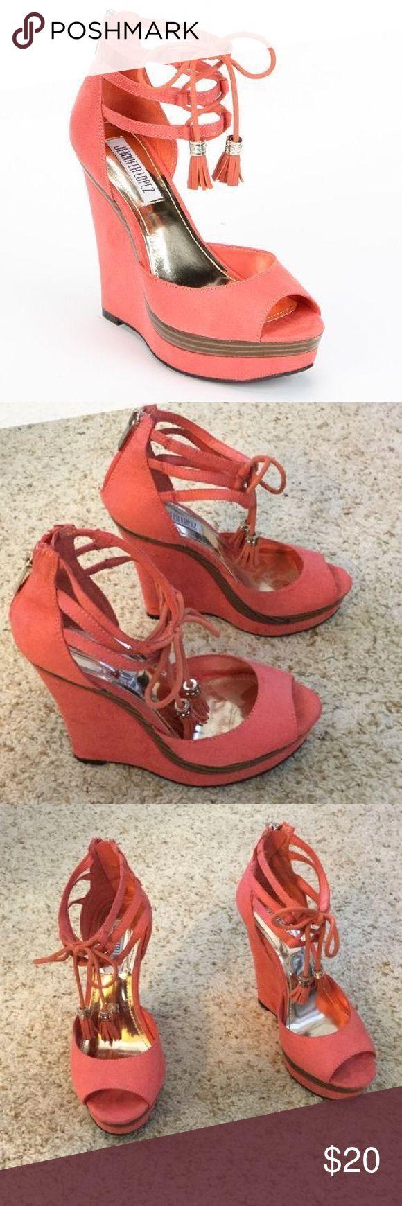 🌴 Jennifer Lopez Wedge High Heels 🌴 Jennifer Lopez Wedge High Heels. Size 9 1/2. Orange - Peach color, suede material. Good condition. Lace up around ankles. Jennifer Lopez Shoes Heels