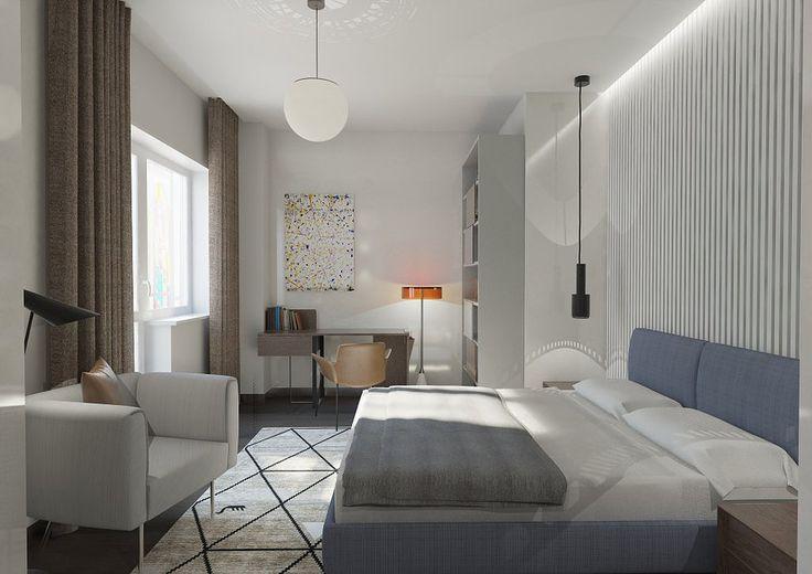 Интерьер в светлых тонах. Спальня в современном стиле в данном проекте объединяет несколько функций. Стена за кроватью так же, как и в гостиной, декорирована гипсовыми панелями. Прикроватное освещение обеспечивают подвесные светильники над тумбочками.