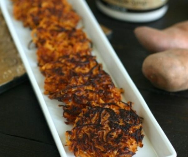 A hybrid of two holiday favorites: Candied Sweet Potatoes and Latkes to help celebrate #Thanksgivukkah