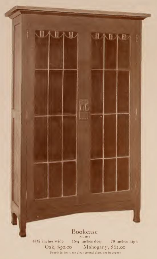 "Roycroft Bookcase with leaded glass from their 1912 furniture catalog. 44.5""Wx16.25""Dx70""H. Came in oak and mahogany."