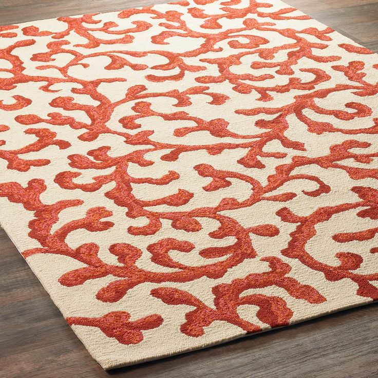 Scrolling Coral Indoor Outdoor Rug Scrolling Branches Of