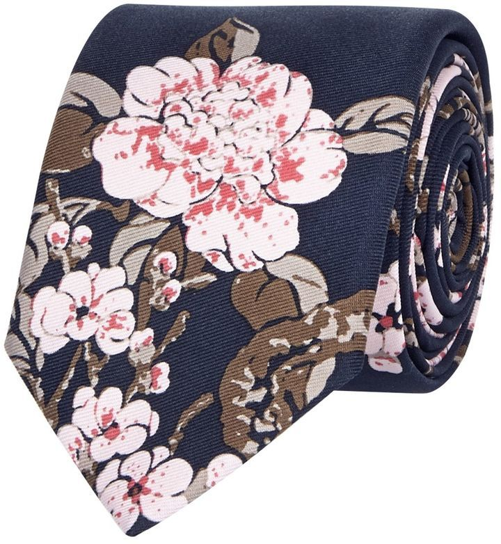 River Island Mens Navy silk Japanese floral print tie