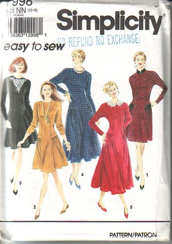 Simplicity 7998, is cut, size 10 to 16, dress in two lengths