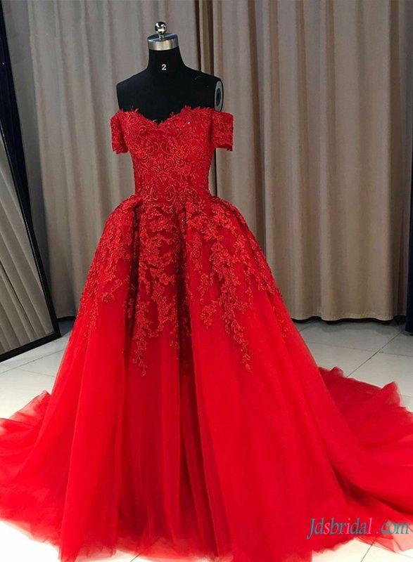 40edc7f3c5d H0771  Red burgundy off the shoulder  ballgown  wedding  dress   redwddingdress  nontraditionalweddingdress  weddingdresses   ballgownweddingdress ...
