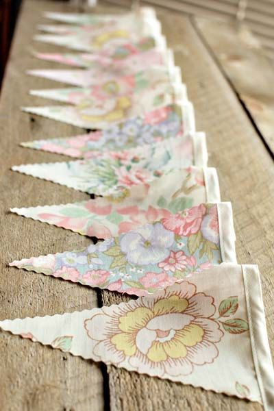 Old fashioned floral bunting.