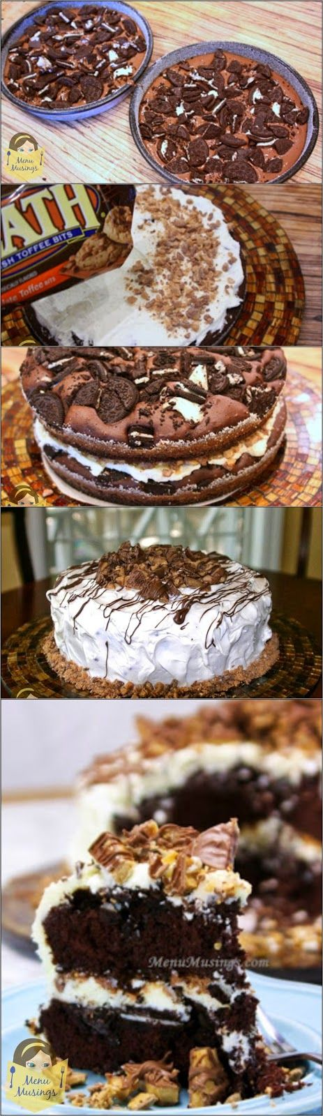 Oreo Heath Bar Cake - chocolate fudge cake with Oreos baked into batter, heath bar pieces mixed into the filling, and decorating the top.  Very decadent, but very simple to make with step-by-step photos!  Guaranteed to make someone's day!  :)