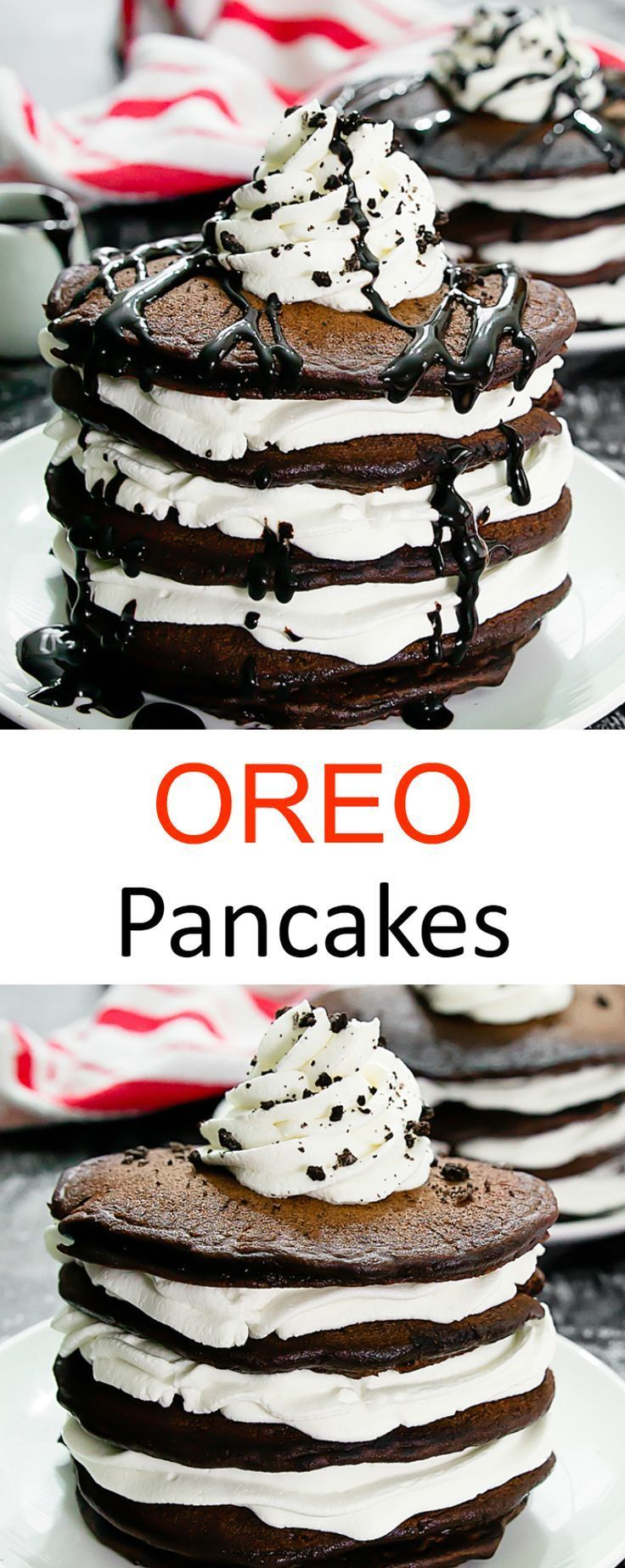 Oreo Pancakes. Chocolate cookies and cream flavored pancakes stacked together with layers of whipped cream. A fun breakfast or brunch!Everyday Savvy
