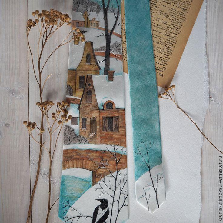Купить Январь - шелковый галстук с ручной росписью - бирюзовый, рыжий, рисунок, терракотовый, белый, мятный