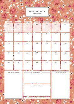 Juin : calendrier-organisateur mensuel à imprimer - Vie de Miettes