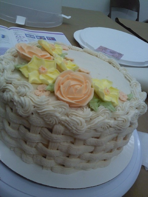 Basket weave w/ royal icing flowers