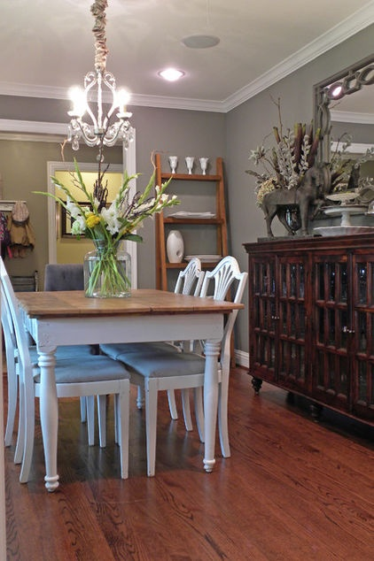 dovetail Sherwin Williams, and I love the buffet & mirror in place of a full china cabinet.