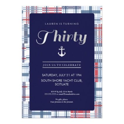 #30th Birthday Invitation - Thirty Nautical Summer - #birthdayinvitation #birthday #party #invitation #cool #parties #invitations
