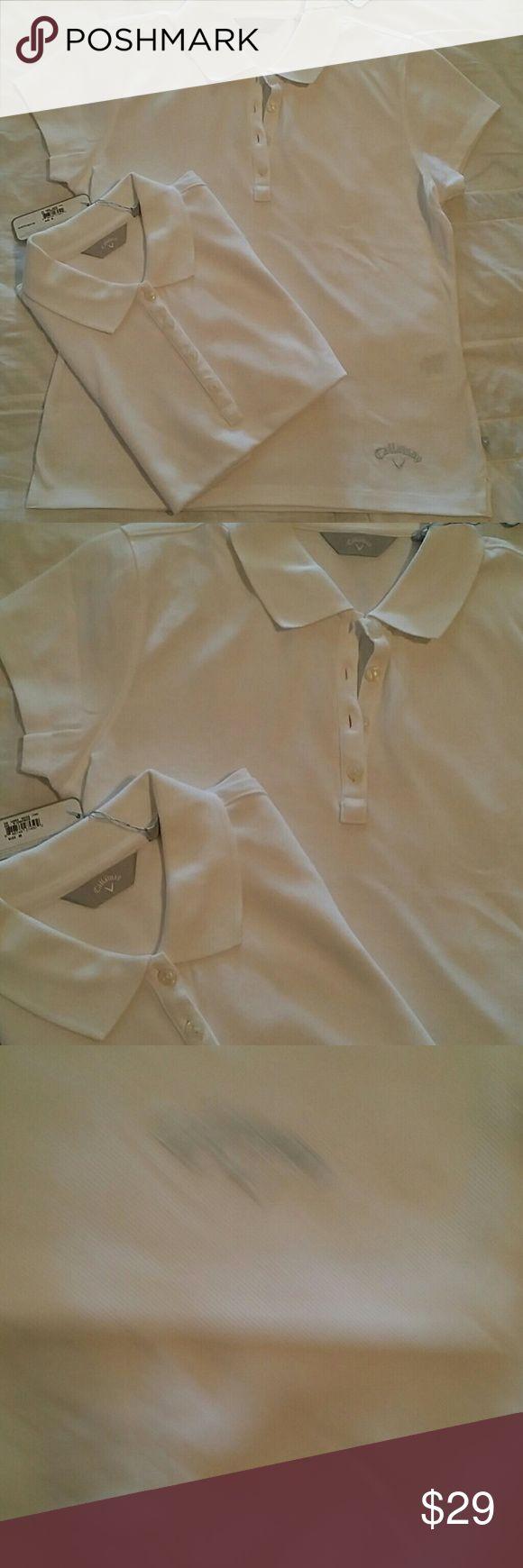 2 CALLAWAY WOMENS GOLF SHIRTS NWT SZ M Here r 2 brand new golf shirts, sz medium.  Crisp white with silver embroidered logo. 4 button neckline. Callaway Tops Tees - Short Sleeve