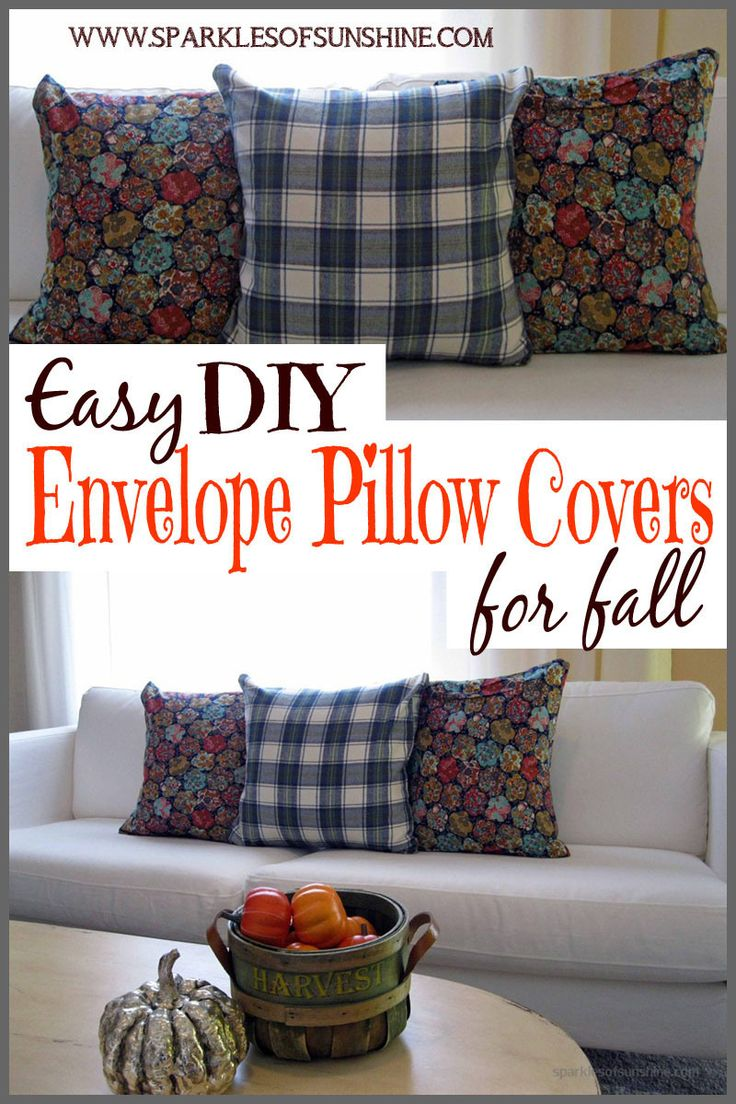 Learn how to make easy DIY envelope pillow covers to