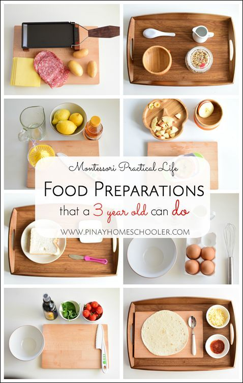 Montessori Food preparation activities for 3-year-olds.