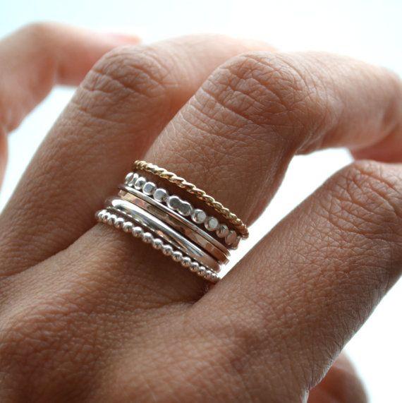 Druif VI. zilver en 14kt gouden gevuld ringen. stapelen van de