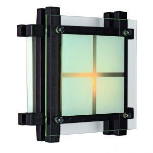 Настенно-потолочные темно-коричневого цвета светильники 1-ламповые OML-40507-01 Omnilux,стекло квадрат матовый с прозрачным, для деревянного дома,потолков и стен обшитых вагонкой,доской.Люстры-квадратные  в деревянном корпусе как венге Минск РБ