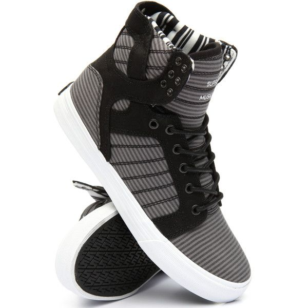 skytop high top sneakers by Supra ($90) ❤ liked on Polyvore featuring shoes, sneakers, supra footwear, high top sneakers, supra shoes, supra sneakers and supra high tops