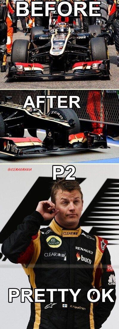 Before and After ...can someone please explain why we need a very expensive aerodynamics department..... we finished second with a crashed car! Thanks Kimi for showing everyone else how to drive.........