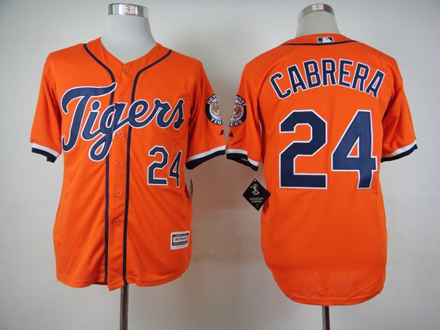 New Style Detroit Tigers Jersey 24 Miguel Cabrera Jersey,52 Yoenis Cespedes Jersey Embroidery Orange Baseball Jersey Size S-XXXL