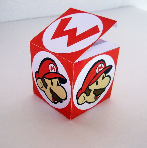 Red Mario Box  Favor Treat or Gift Box  by paper4download on Etsy