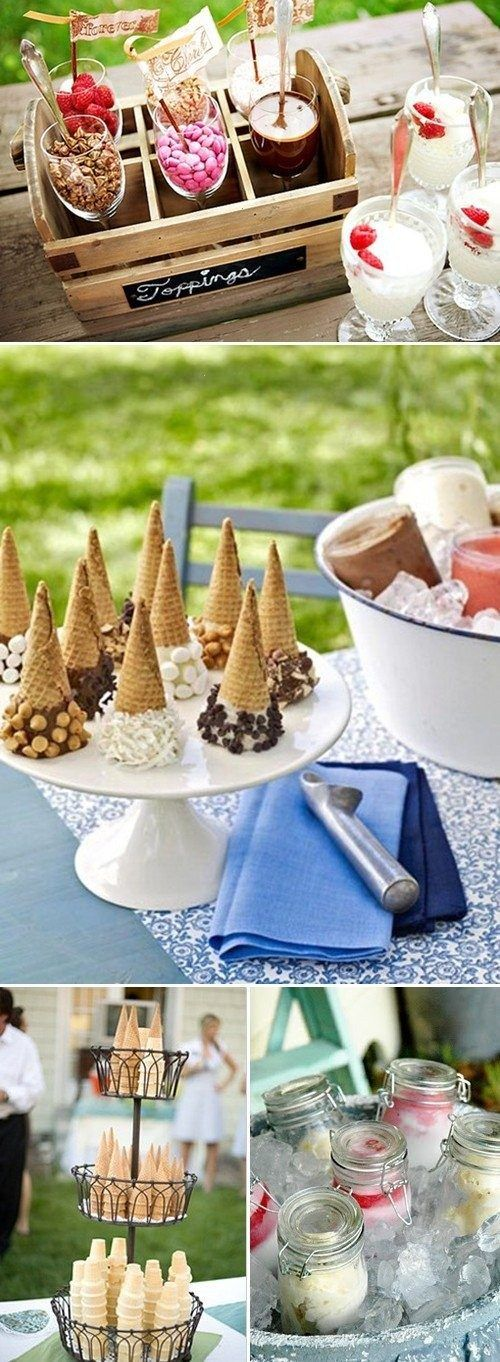 Ice cream bar! Mason jars of pre scooped ice cream...Great Wedding reception idea And remember those who can't have sugar some sugar free ice cream and fruit toppings. ;-)