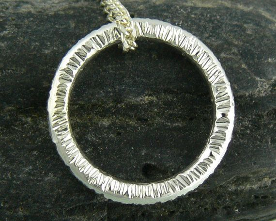 Silver Pendant  Hammered Ring / Circle on by AlissaZomerJewellery