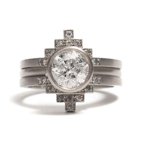 Melanie Katsalidis Salt and Pepper Diamond Elevate Ring