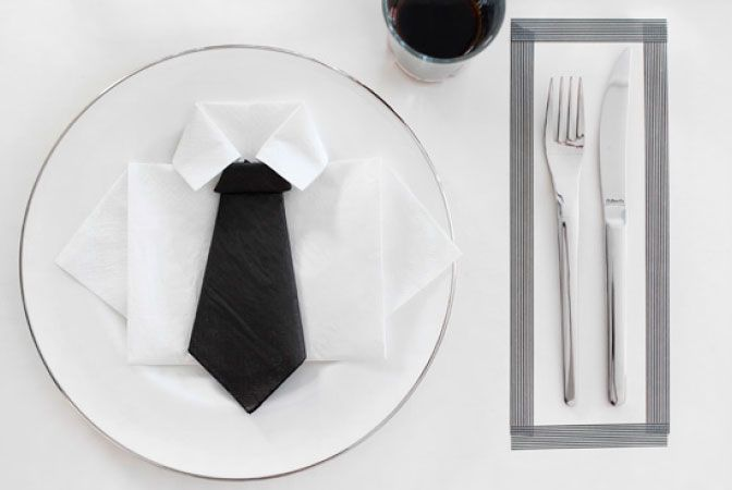 DIY shirt and tie napkin by Nina Holst for Tilbords.no