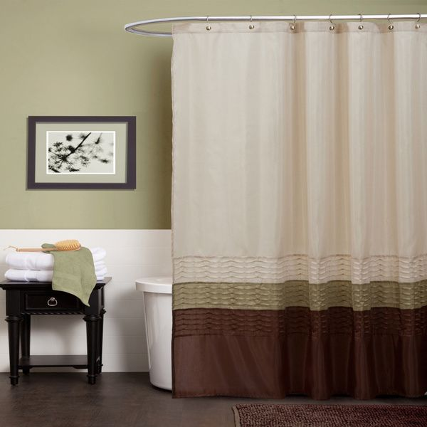 Lush Decor Mia Green Brown Shower Curtain