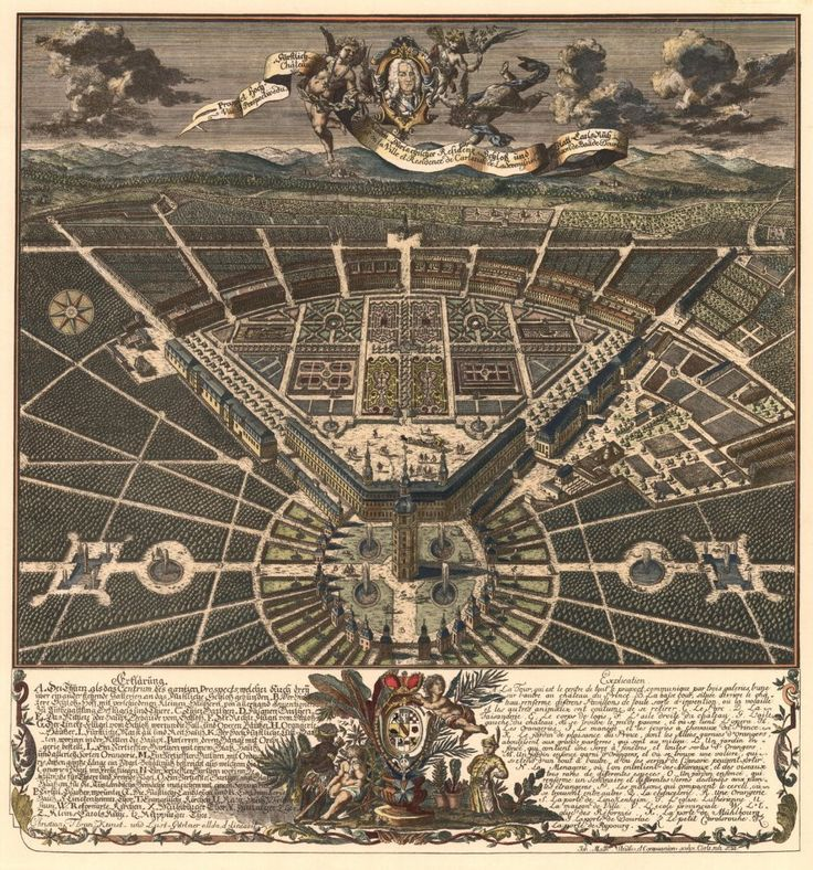 Good View of the city from the north colored copper engraving of the Royal Gardener Christian Thran Image City of Karlsruhe Germany