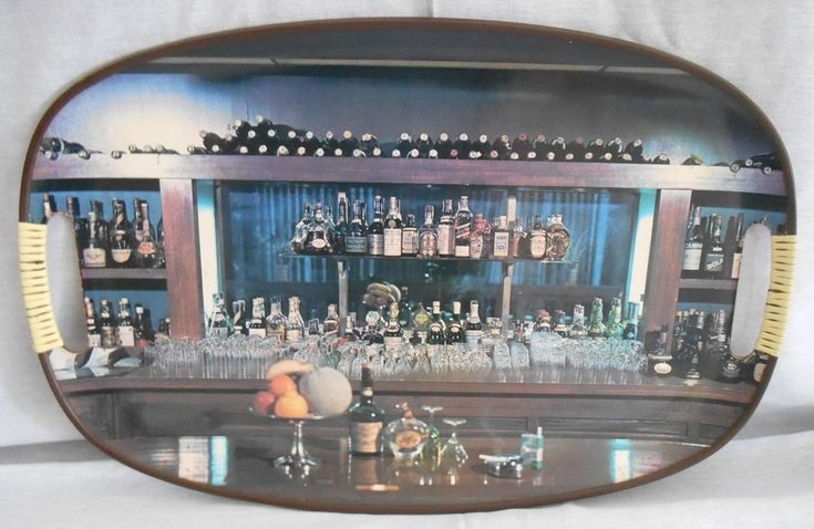 Vintage Retro Bar Scene Serving Tray  #Unbranded