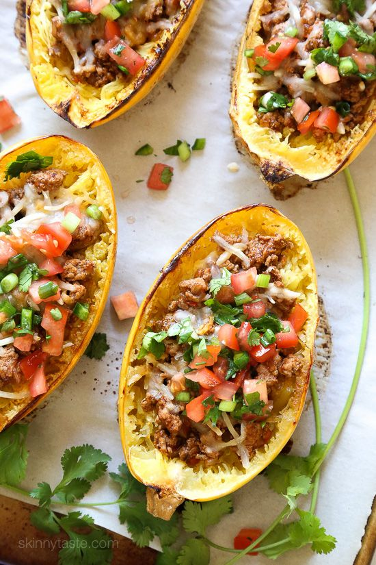 My favorite new way to eat spaghetti squash! Filled with the most flavorful turkey taco meat, cheese and topped with pico de gallo. You can leave the cheese out to make it dairy-free, paleo or Whole30.