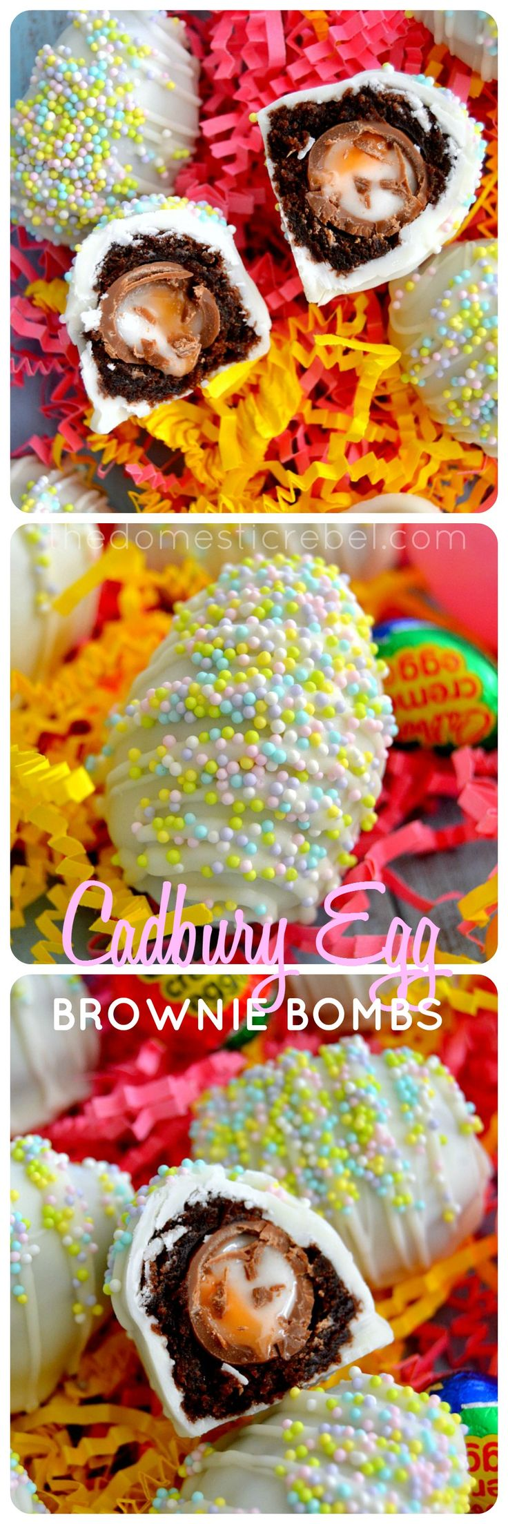 These Cadbury Creme Egg Brownie Bombs are the perfect Easter treat! Rich, fudgy brownies are wrapped around miniature Cadbury Creme Eggs, then the whole bomb is coated in white chocolate. So sweet & rich!