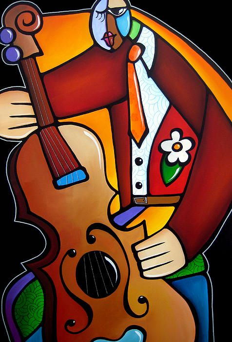Slappin The Bass By Fidostudio Painting by Tom Fedro - Fidostudio