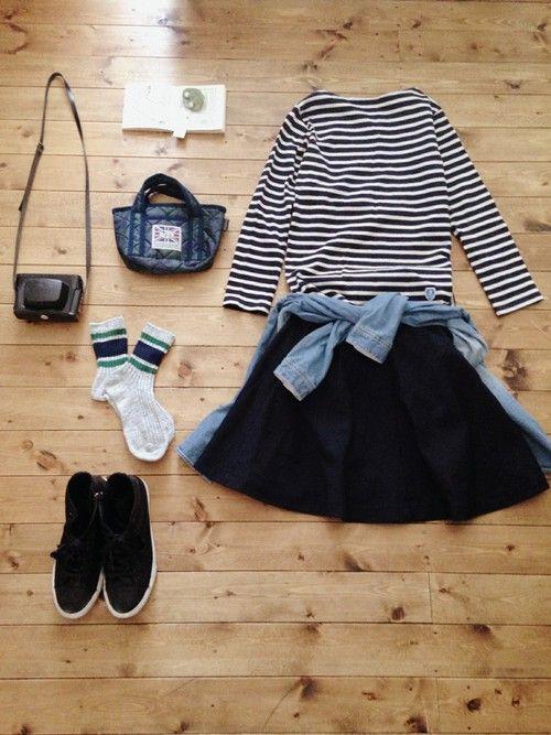 アクセサリー/atelier bloom コットンパール2WAYピアス 淡水パールちょうちょネックレス トップス/ORCIVAL スカート/UNIQLO シャツ/used bag/LAVENHAM shoes/nano・universe