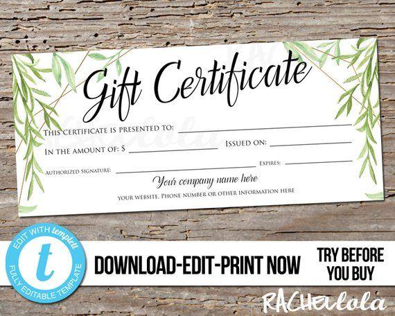 Editable Greenery Printable Gift Certificate Template Custom