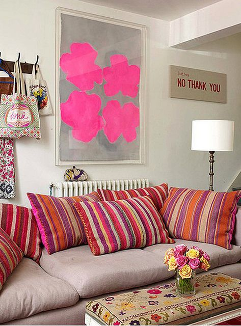 Like the artDecor, Living Rooms, Colors, Livingroom, Art, Interiors Design, Hot Pink, Style File, Pillows