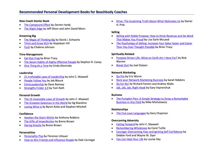 Recommended Personal Development Books! Become successful at   - best of blueprint self development