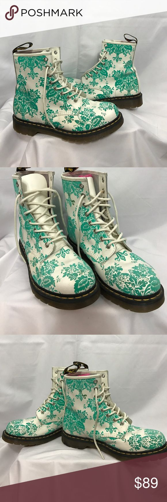 Doc Martens sz9 aqua flocked white leather boots Excellent used condition Doc Martens sz9 aqua flocked white leather boots...worn only a couple of times...some light wear marks...but overall in great shape... Dr. Martens Shoes Combat & Moto Boots