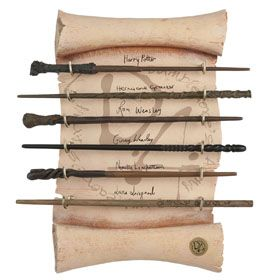 Dumbledore's Army wand collection, includes wands of Harry Potter, Hermione Granger, Ron Weasley, Ginny Weasley, Neville Longbottom, and Luna Lovegood