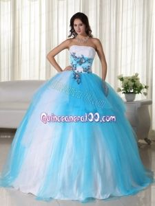 Aqua Ball Gown Strapless Floor-length Tulle Beading Quinceanera Dress