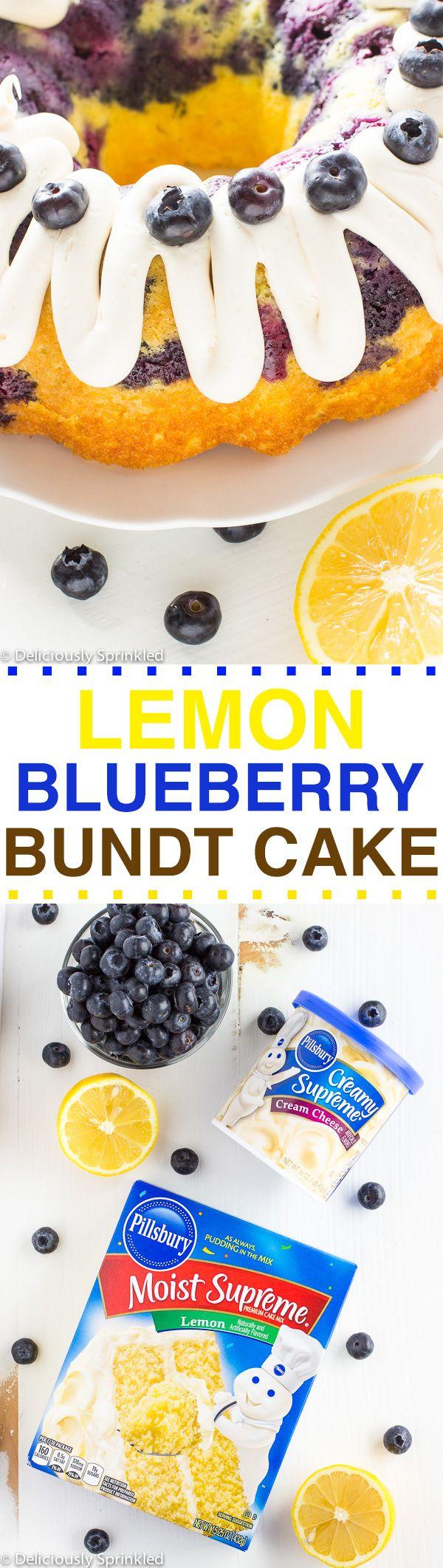 Lemon Blueberry Bundt Cake- super easy bundt cake to make that taste like it is homemade with the fresh blueberries. My family LOVED it!