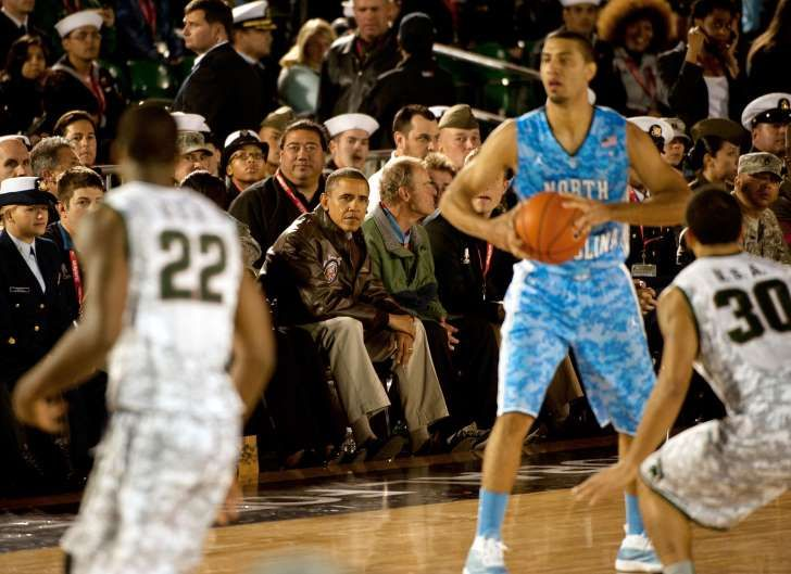 UNC–Michigan State (Nov. 11, 2011): In a celebration of Veterans Day, Obama attended the inaugural Carrier Classic basketball game between North Carolina and Michigan State on board the aircraft carrier USS Carl Vinson. There were just two iterations of the game before the series was canceled.