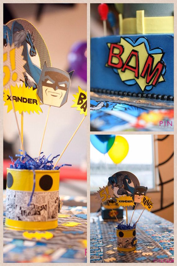 Set of Center piece Toppers #superheroes by ButterflyCrafty become a fan on facebook